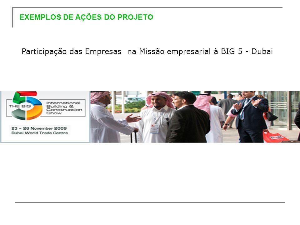 Participação das Empresas na Missão empresarial à BIG 5 - Dubai