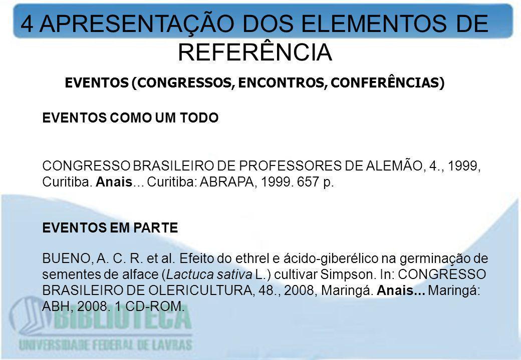 EVENTOS (CONGRESSOS, ENCONTROS, CONFERÊNCIAS)