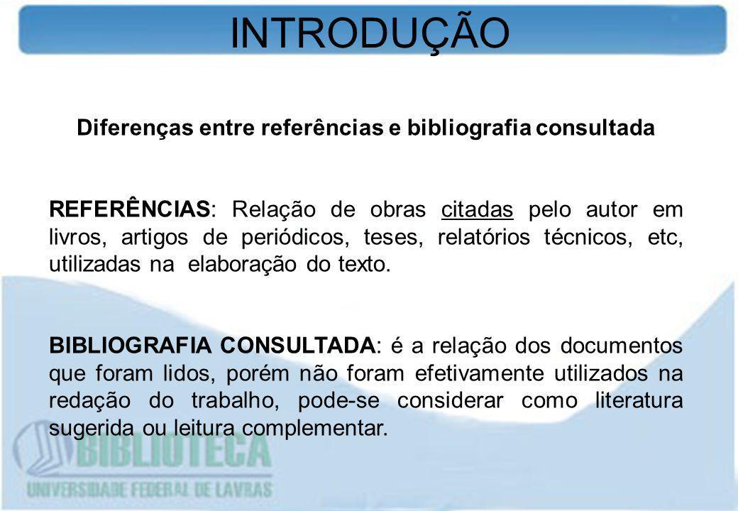 Diferenças entre referências e bibliografia consultada