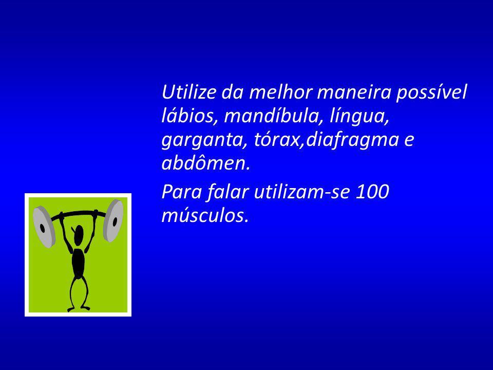 Utilize da melhor maneira possível lábios, mandíbula, língua, garganta, tórax,diafragma e abdômen.