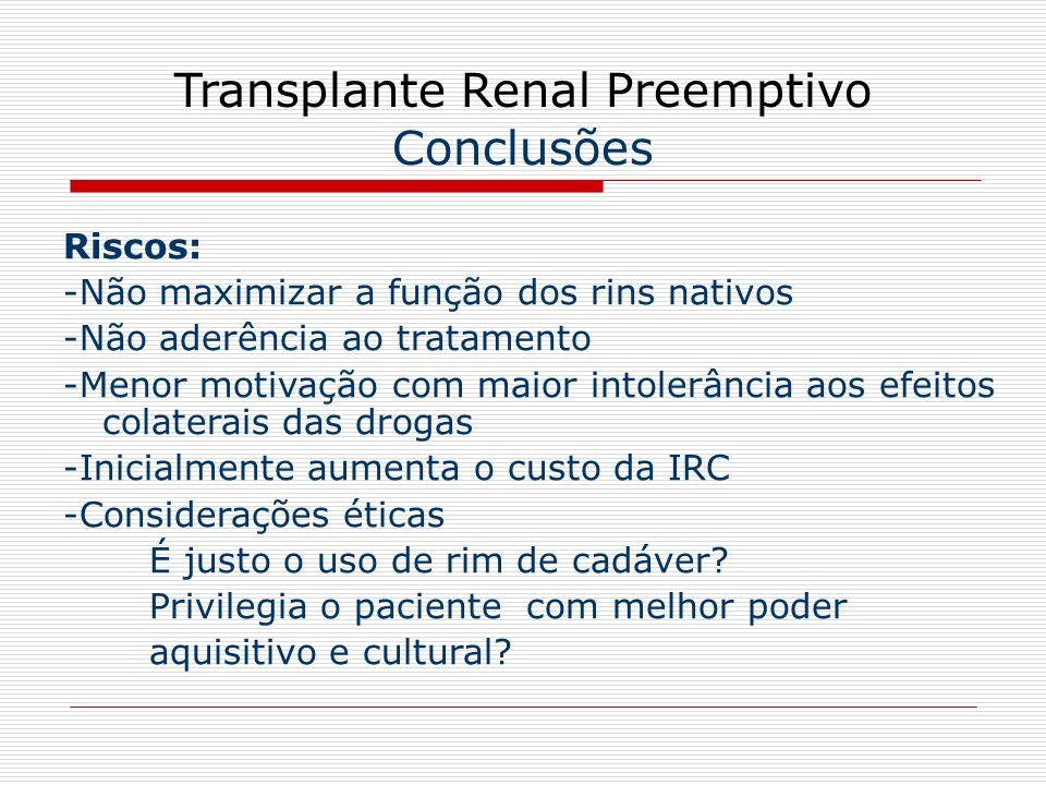 Transplante Renal Preemptivo Conclusões