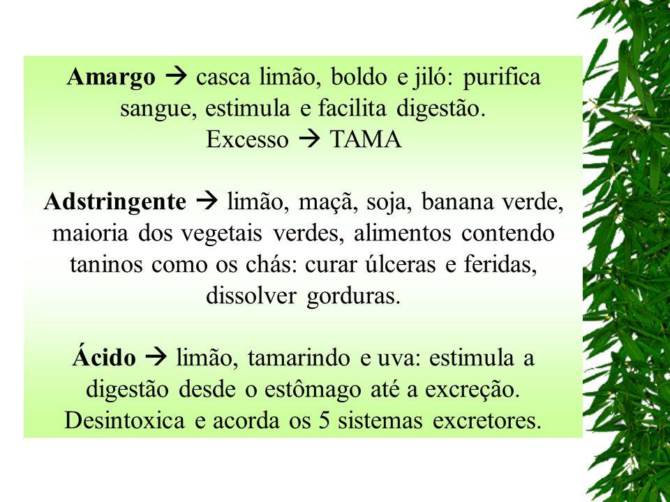 Amargo  casca limão, boldo e jiló: purifica sangue, estimula e facilita digestão. Excesso  TAMA