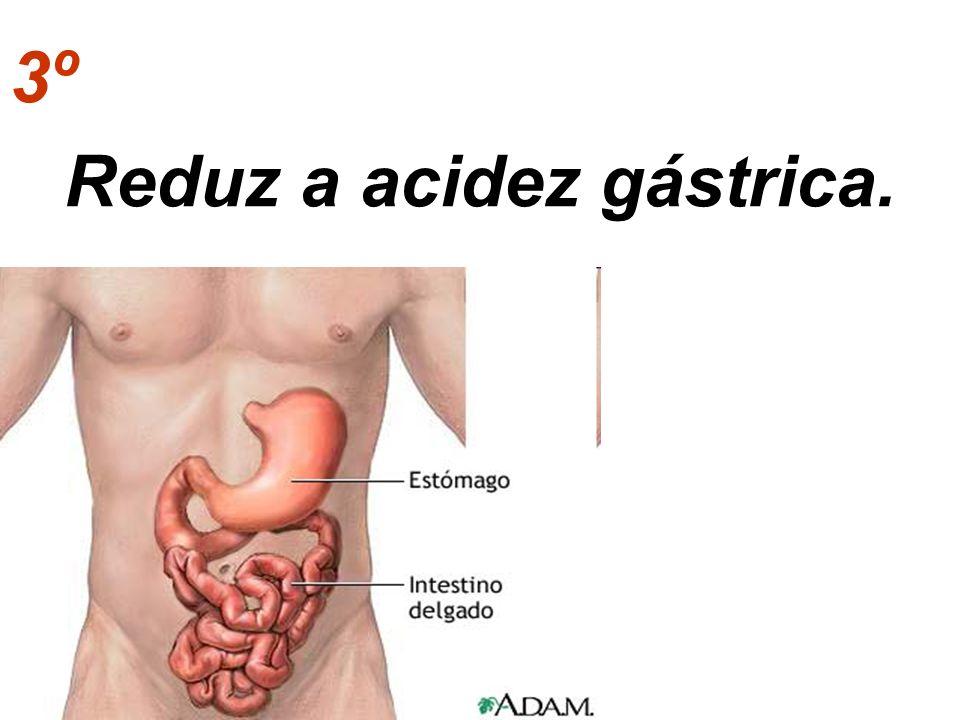Reduz a acidez gástrica.