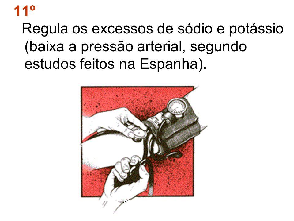 11º Regula os excessos de sódio e potássio (baixa a pressão arterial, segundo estudos feitos na Espanha).