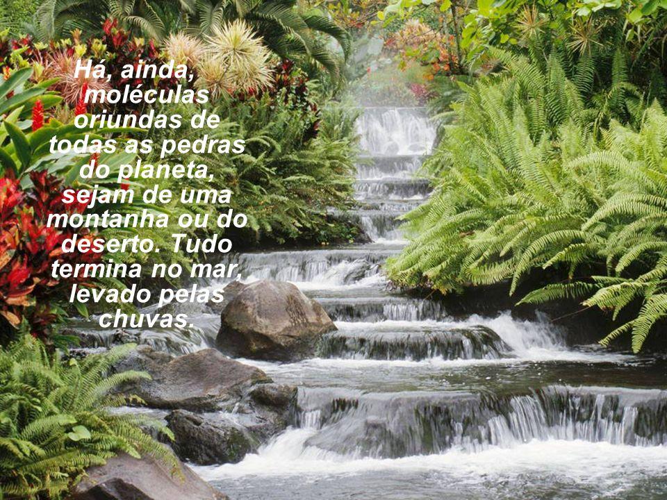 Há, ainda, moléculas oriundas de todas as pedras do planeta, sejam de uma montanha ou do deserto.