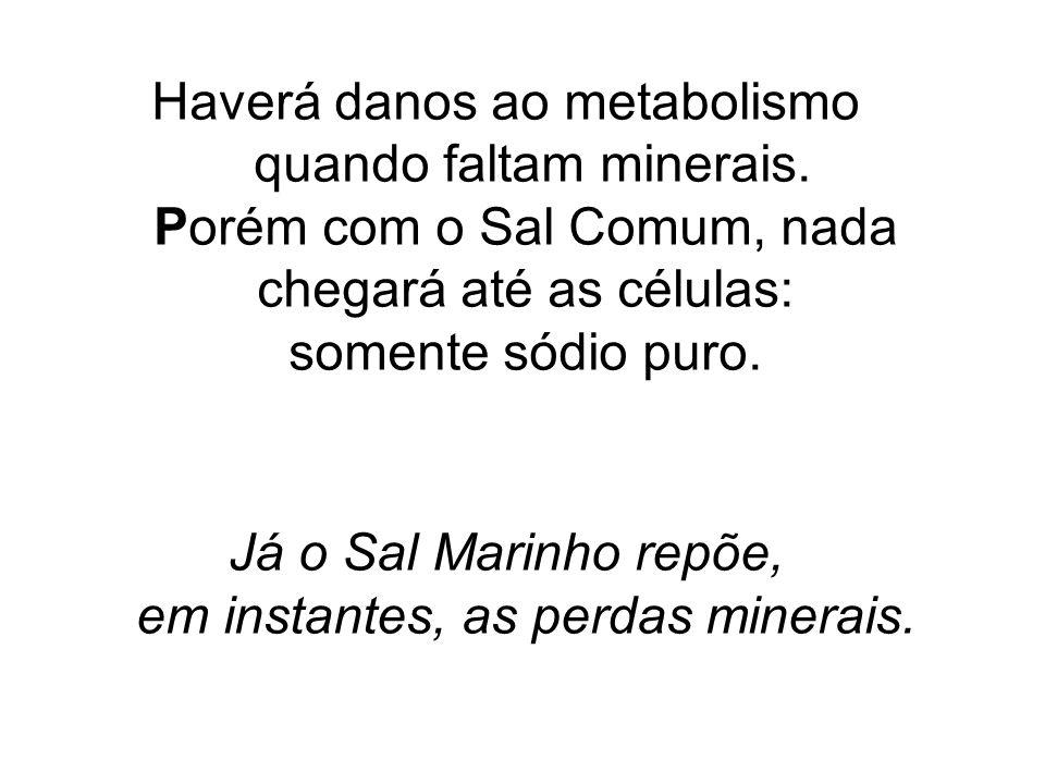 Já o Sal Marinho repõe, em instantes, as perdas minerais.