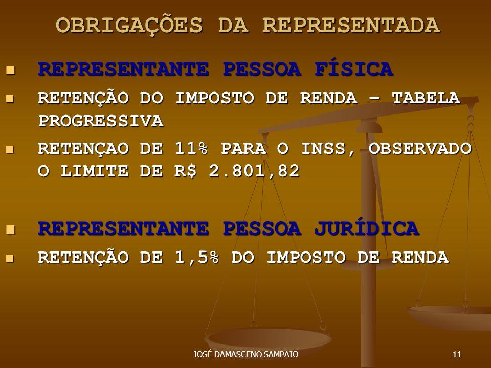 OBRIGAÇÕES DA REPRESENTADA