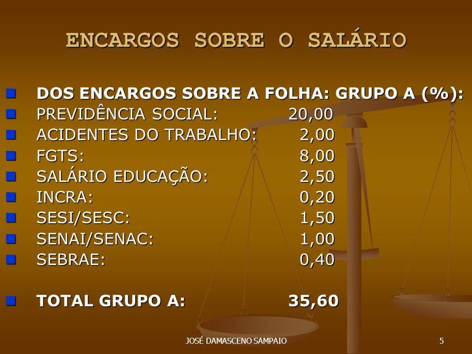 ENCARGOS SOBRE O SALÁRIO