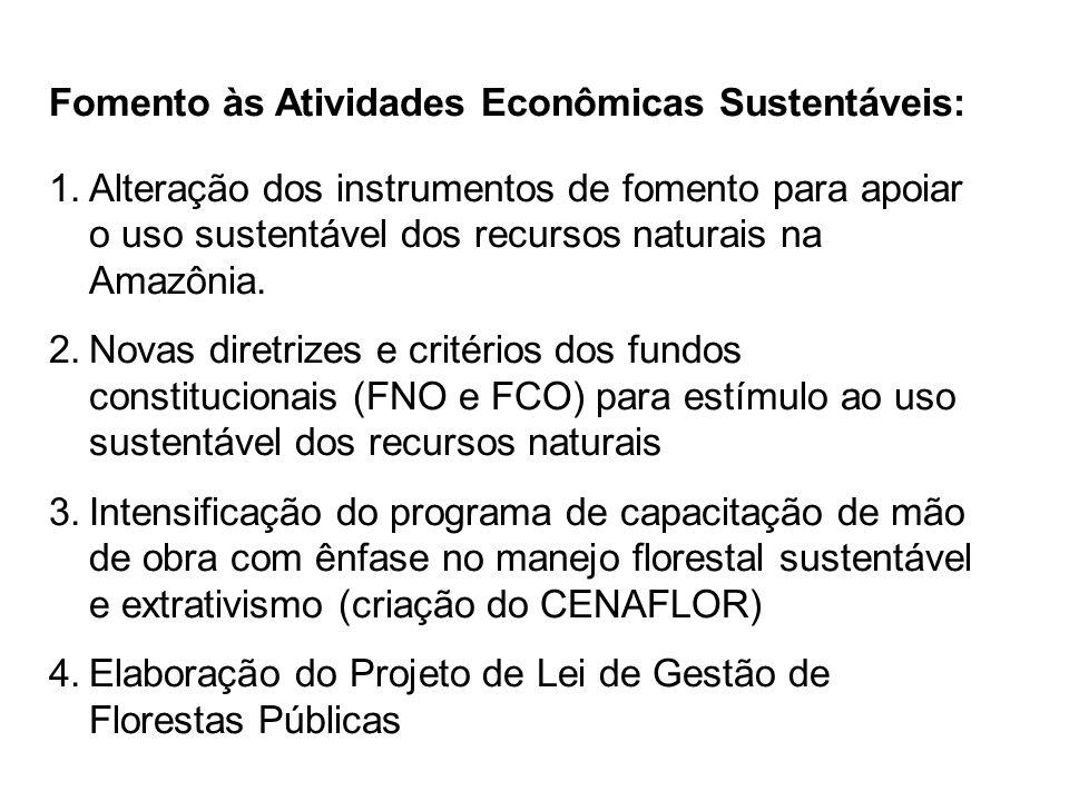 Fomento às Atividades Econômicas Sustentáveis: