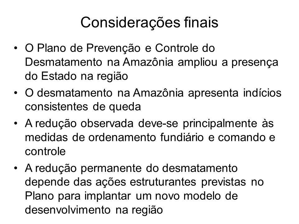 Considerações finais O Plano de Prevenção e Controle do Desmatamento na Amazônia ampliou a presença do Estado na região.