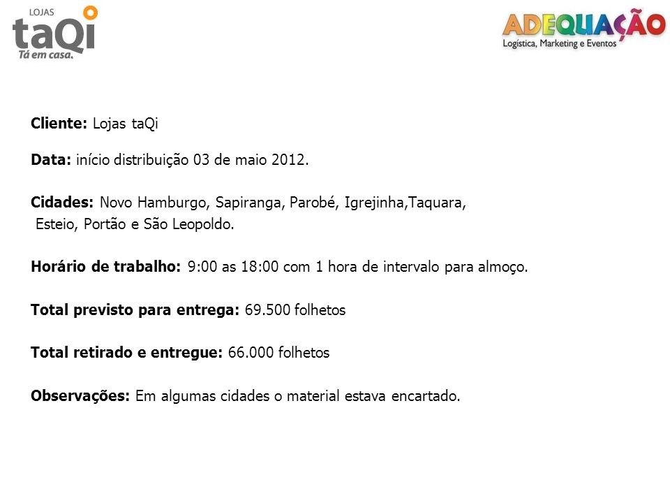 Cliente: Lojas taQi Data: início distribuição 03 de maio 2012. Cidades: Novo Hamburgo, Sapiranga, Parobé, Igrejinha,Taquara,