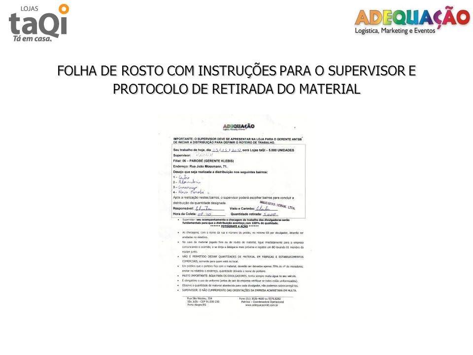 FOLHA DE ROSTO COM INSTRUÇÕES PARA O SUPERVISOR E PROTOCOLO DE RETIRADA DO MATERIAL