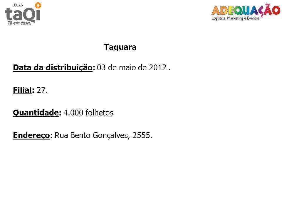 Data da distribuição: 03 de maio de 2012 . Filial: 27.