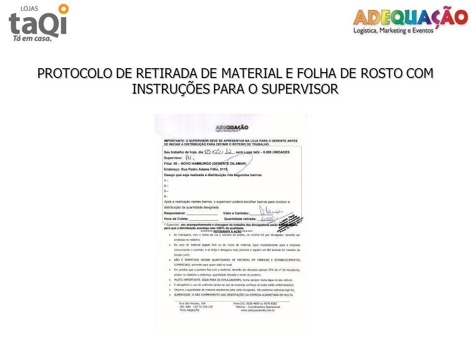 PROTOCOLO DE RETIRADA DE MATERIAL E FOLHA DE ROSTO COM INSTRUÇÕES PARA O SUPERVISOR