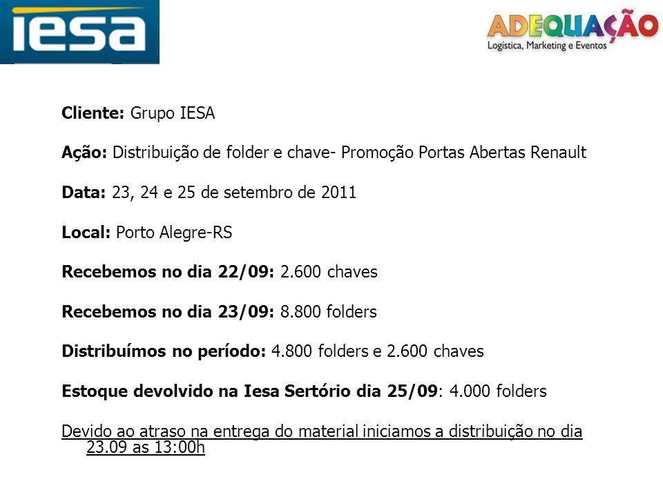 Cliente: Grupo IESA Ação: Distribuição de folder e chave- Promoção Portas Abertas Renault. Data: 23, 24 e 25 de setembro de 2011.