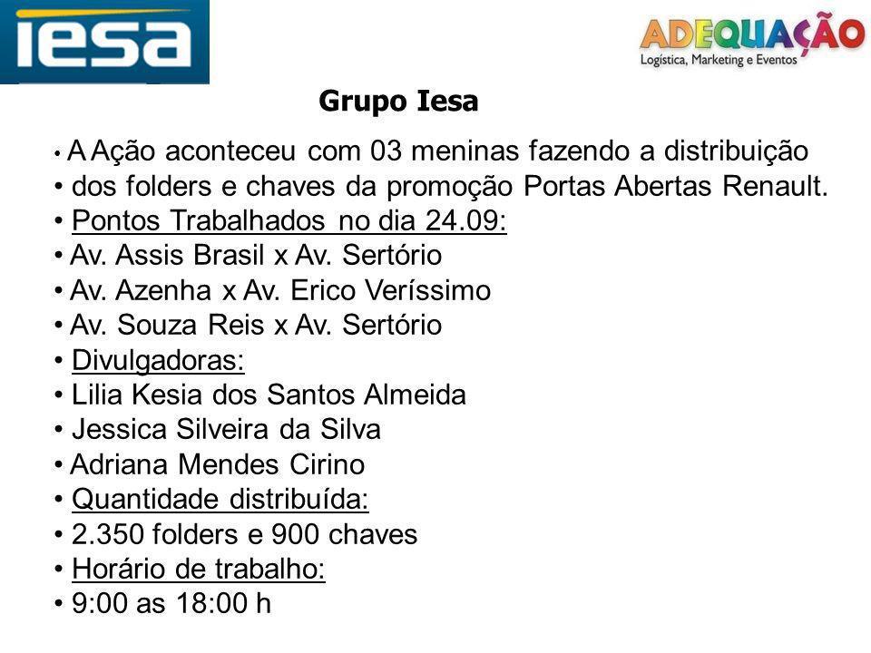 Grupo Iesa dos folders e chaves da promoção Portas Abertas Renault.