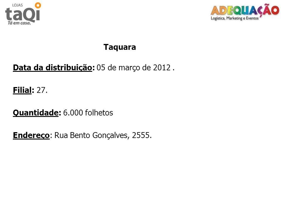 Data da distribuição: 05 de março de 2012 . Filial: 27.