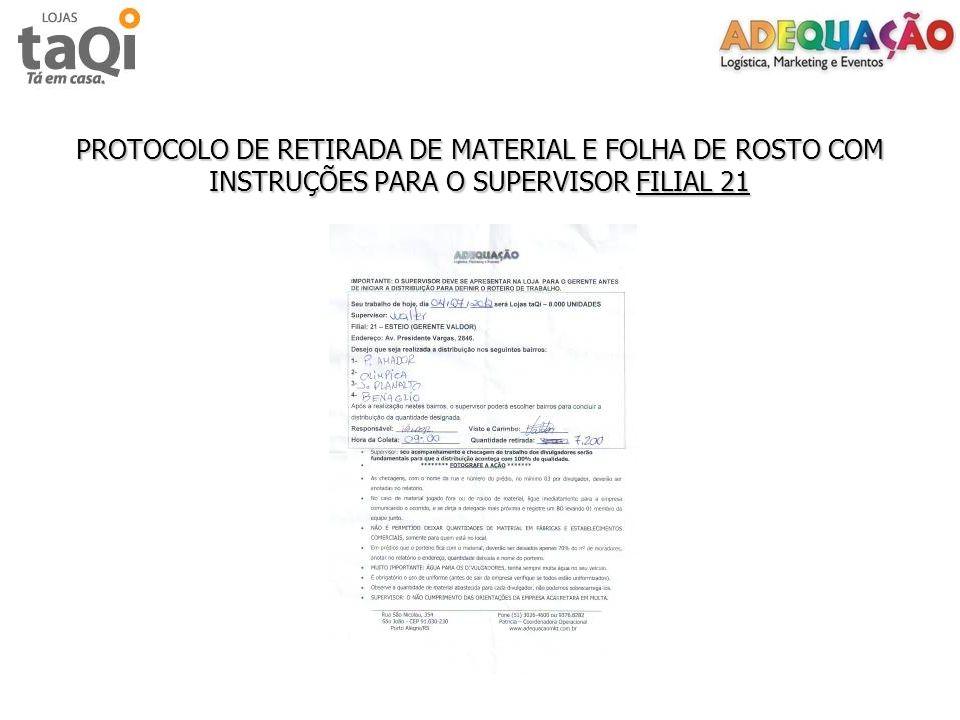 PROTOCOLO DE RETIRADA DE MATERIAL E FOLHA DE ROSTO COM INSTRUÇÕES PARA O SUPERVISOR FILIAL 21