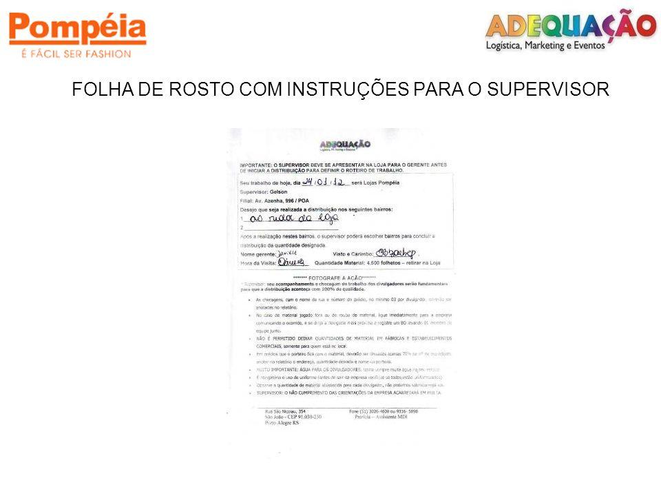 FOLHA DE ROSTO COM INSTRUÇÕES PARA O SUPERVISOR