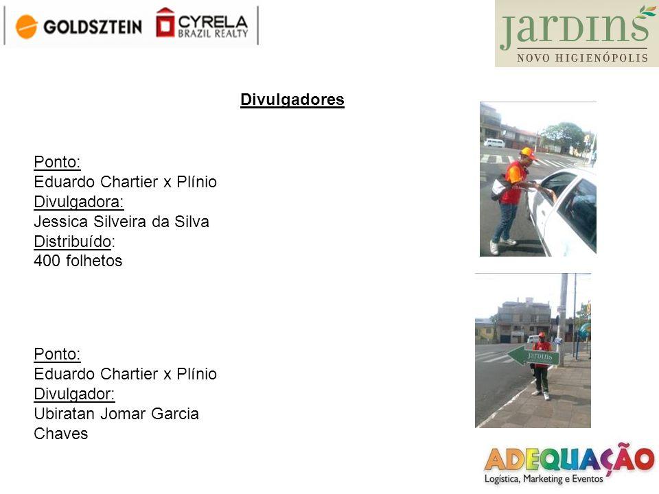 DivulgadoresPonto: Eduardo Chartier x Plínio. Divulgadora: Jessica Silveira da Silva. Distribuído: 400 folhetos.