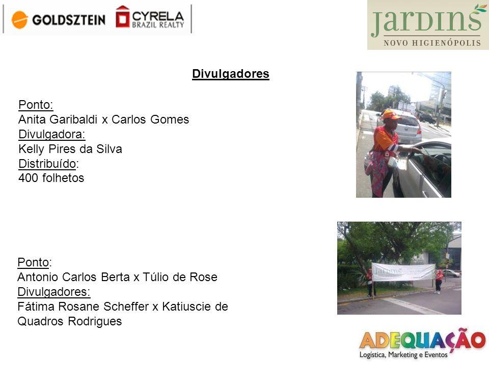 DivulgadoresPonto: Anita Garibaldi x Carlos Gomes. Divulgadora: Kelly Pires da Silva. Distribuído: 400 folhetos.
