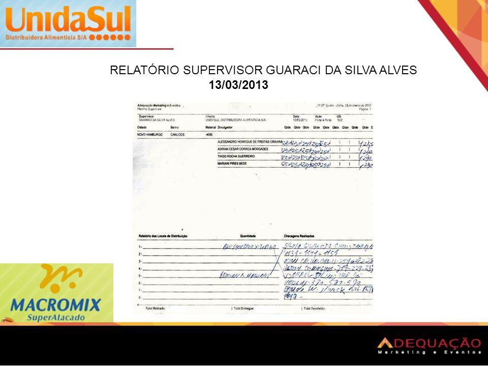 RELATÓRIO SUPERVISOR GUARACI DA SILVA ALVES 13/03/2013