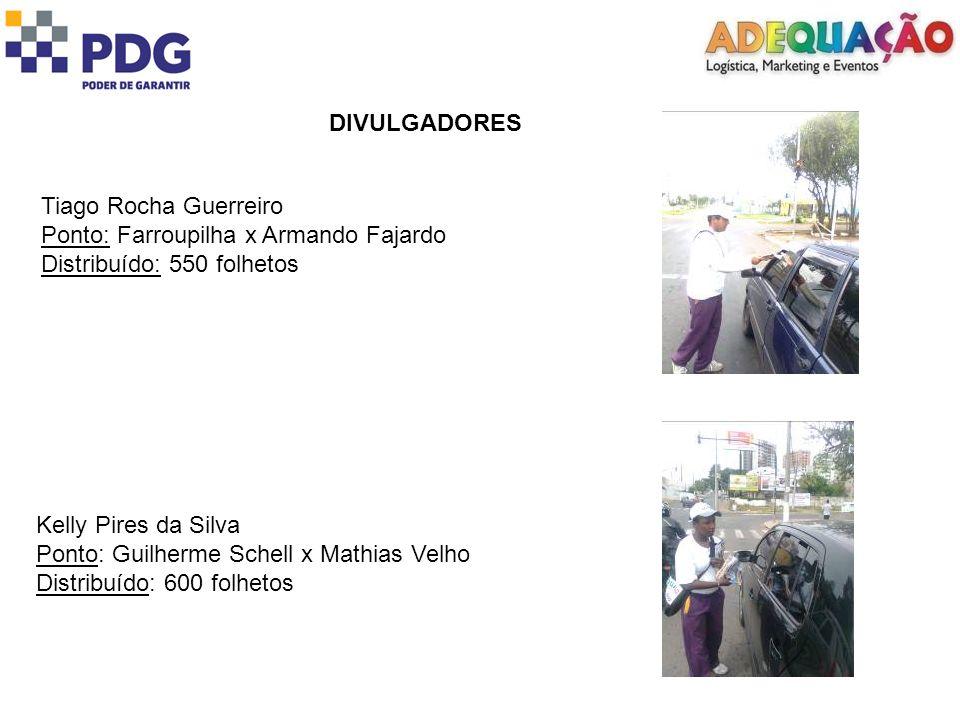 DIVULGADORES Tiago Rocha Guerreiro. Ponto: Farroupilha x Armando Fajardo. Distribuído: 550 folhetos.