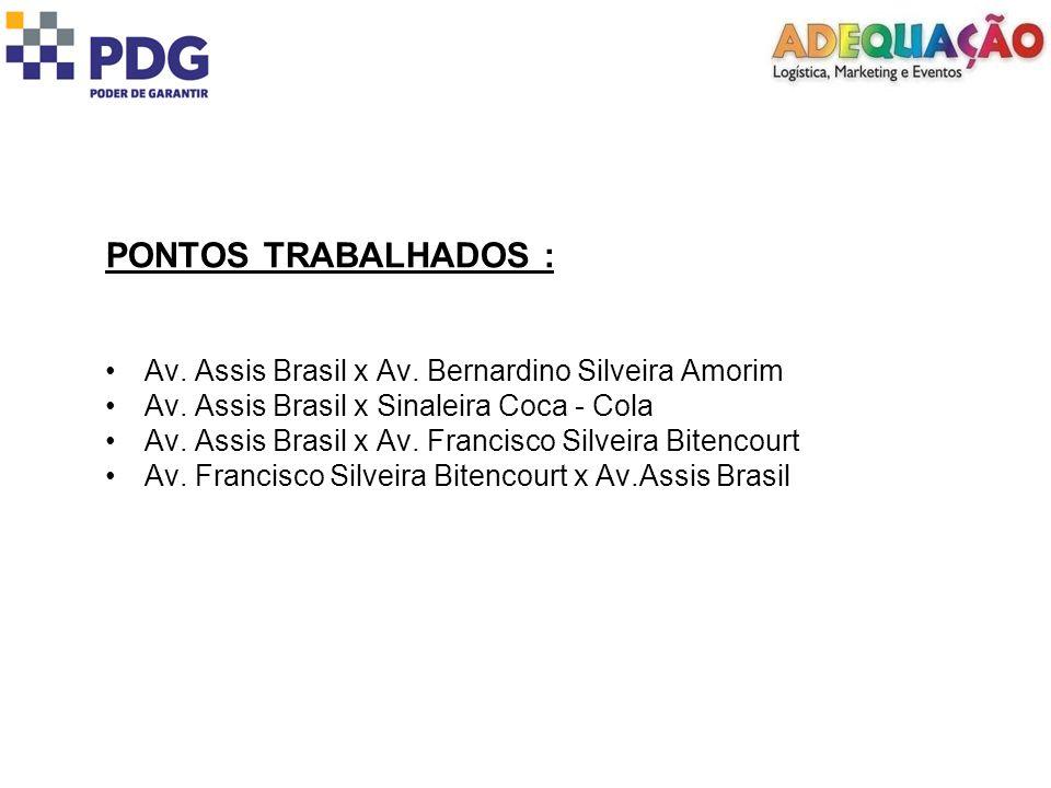 PONTOS TRABALHADOS : Av. Assis Brasil x Av. Bernardino Silveira Amorim