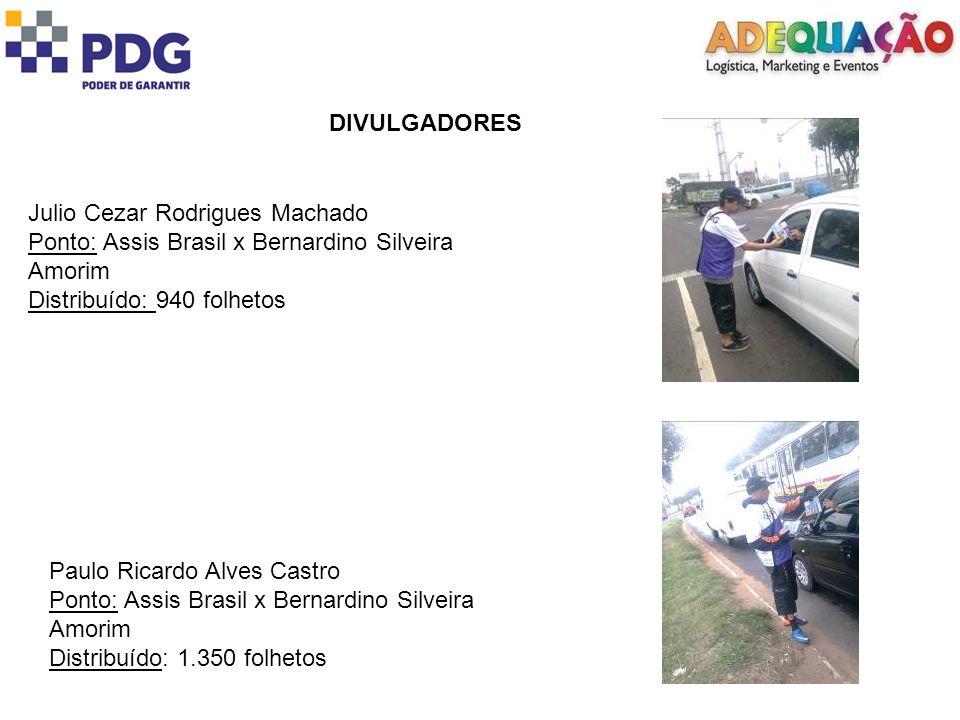 DIVULGADORES Julio Cezar Rodrigues Machado. Ponto: Assis Brasil x Bernardino Silveira Amorim. Distribuído: 940 folhetos.