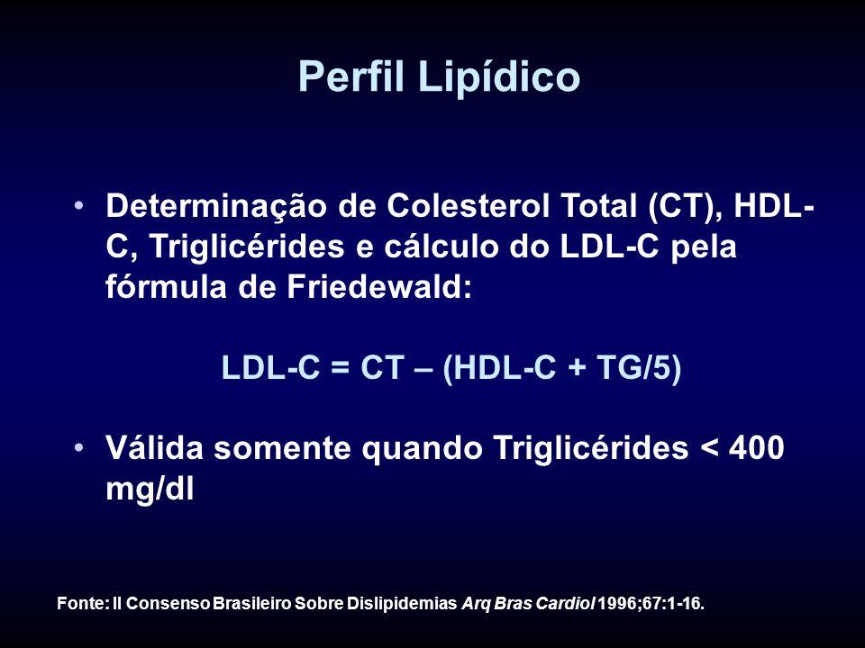 LDL-C = CT – (HDL-C + TG/5)