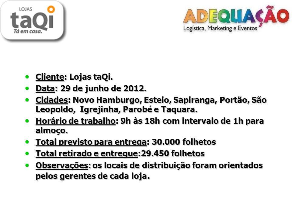 Cliente: Lojas taQi. Data: 29 de junho de 2012. Cidades: Novo Hamburgo, Esteio, Sapiranga, Portão, São Leopoldo, Igrejinha, Parobé e Taquara.