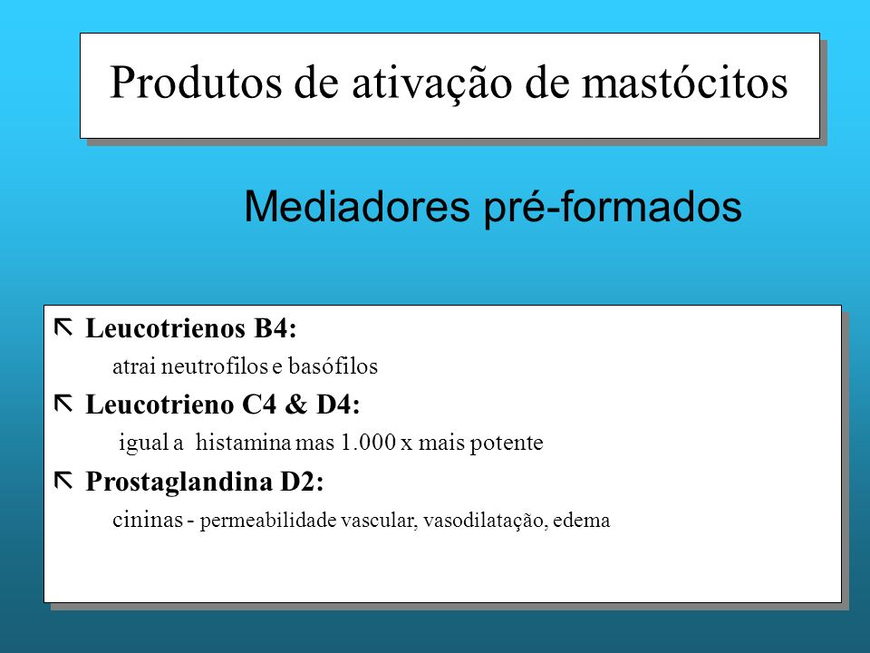 Produtos de ativação de mastócitos