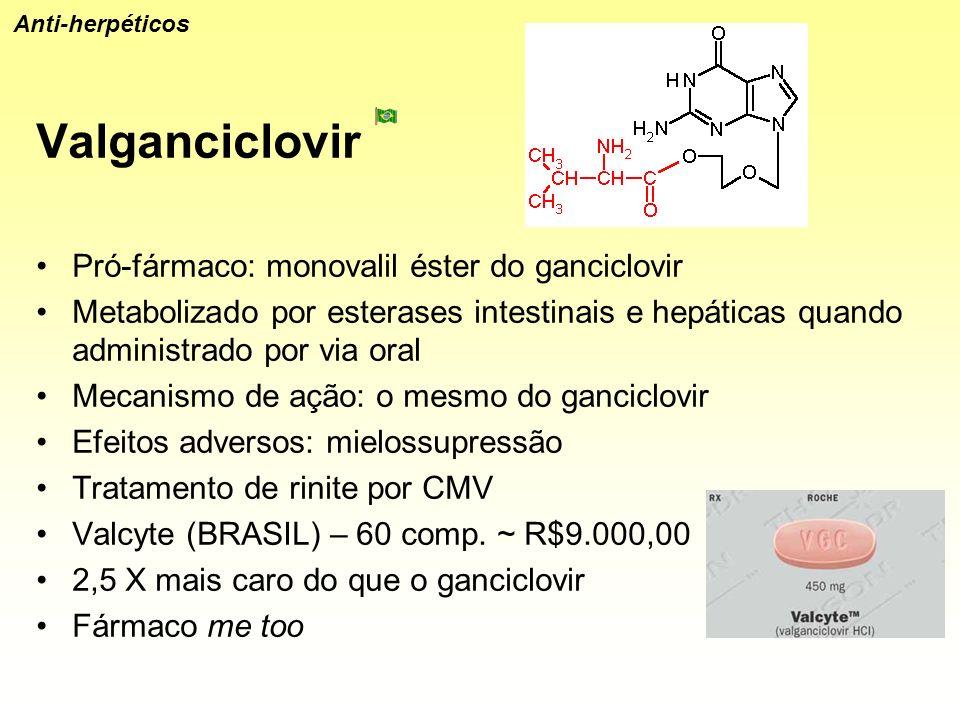Valganciclovir Pró-fármaco: monovalil éster do ganciclovir