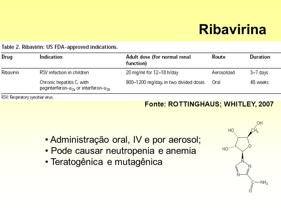 Ribavirina Administração oral, IV e por aerosol;
