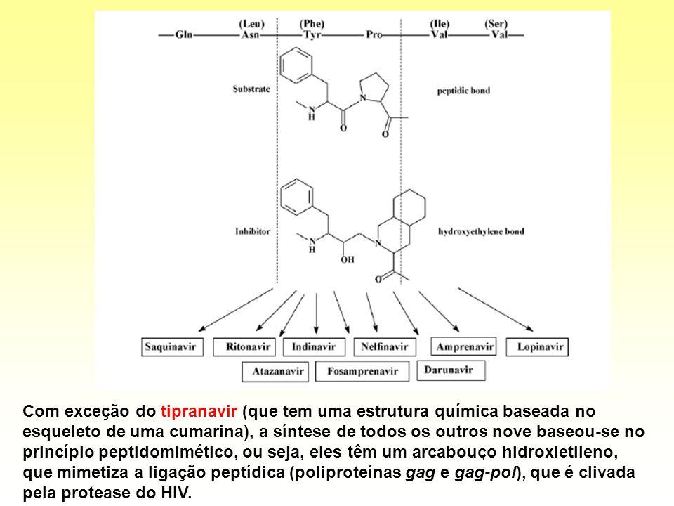 Com exceção do tipranavir (que tem uma estrutura química baseada no esqueleto de uma cumarina), a síntese de todos os outros nove baseou-se no princípio peptidomimético, ou seja, eles têm um arcabouço hidroxietileno, que mimetiza a ligação peptídica (poliproteínas gag e gag-pol), que é clivada pela protease do HIV.