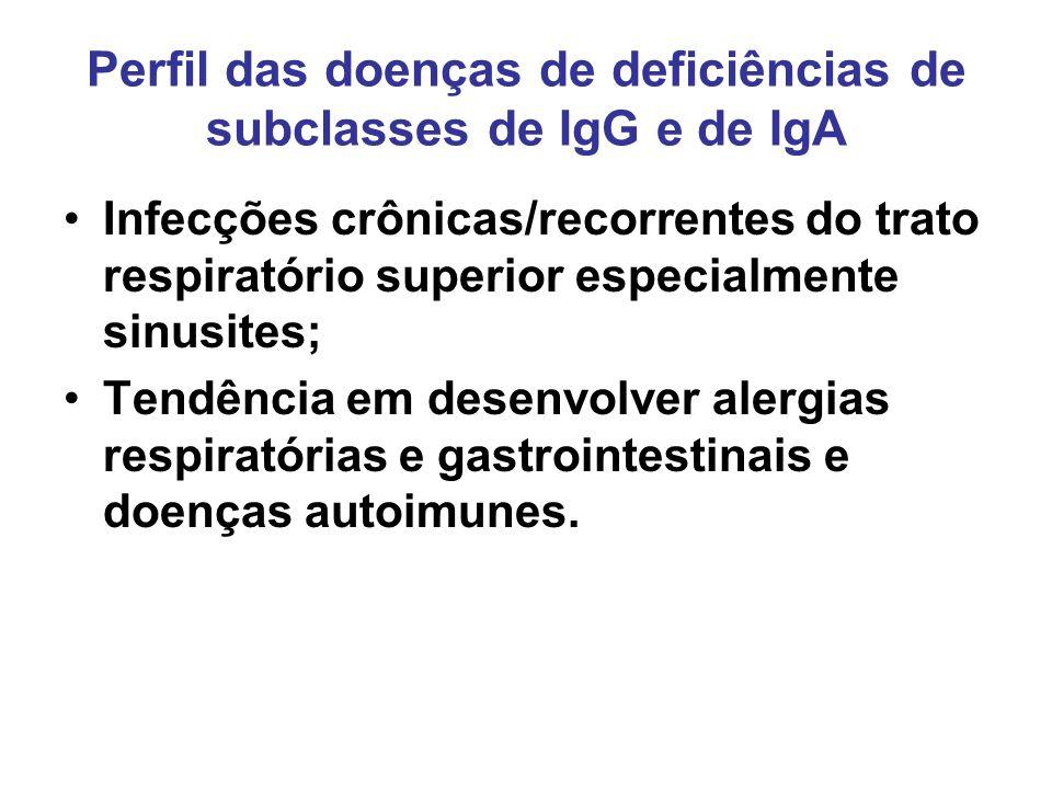 Perfil das doenças de deficiências de subclasses de IgG e de IgA