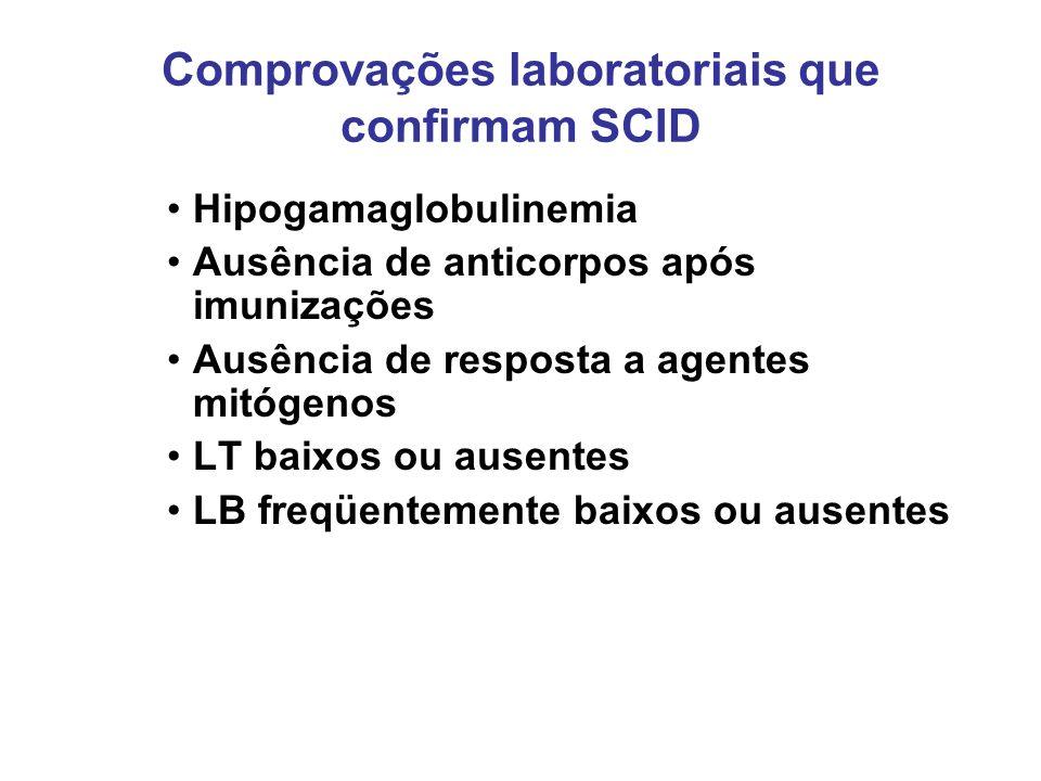 Comprovações laboratoriais que confirmam SCID