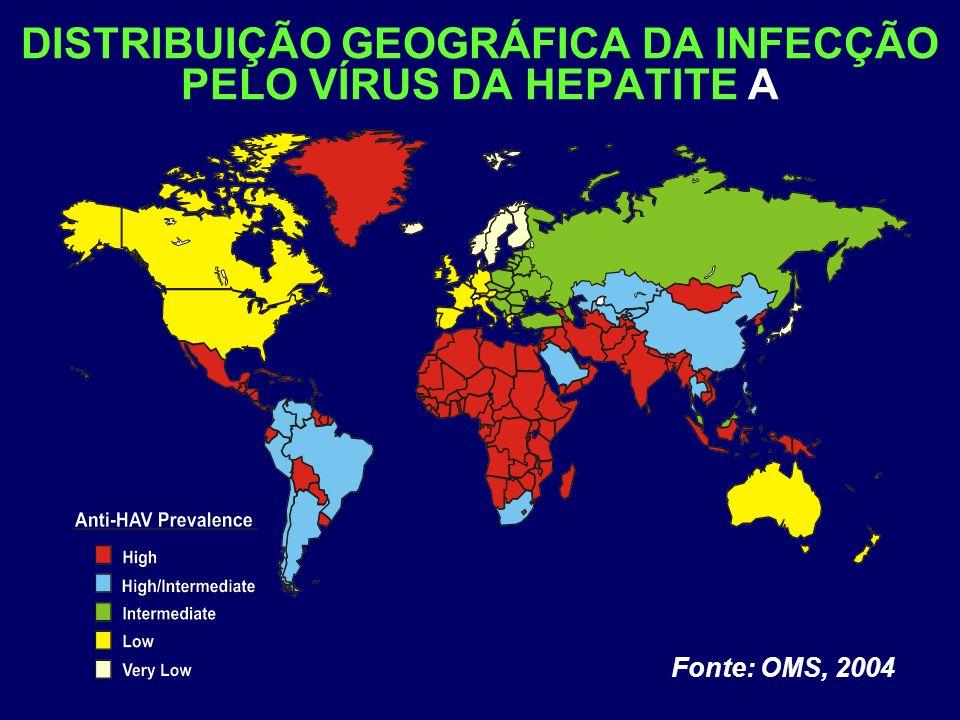 DISTRIBUIÇÃO GEOGRÁFICA DA INFECÇÃO PELO VÍRUS DA HEPATITE A