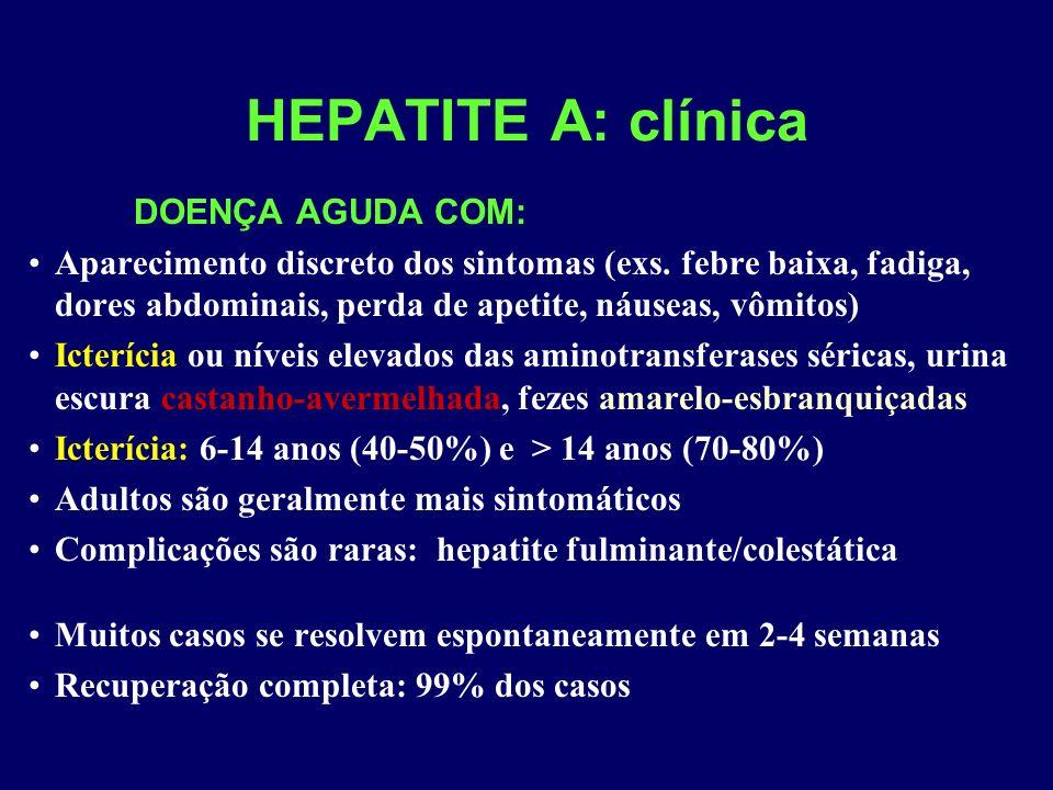 HEPATITE A: clínica DOENÇA AGUDA COM: