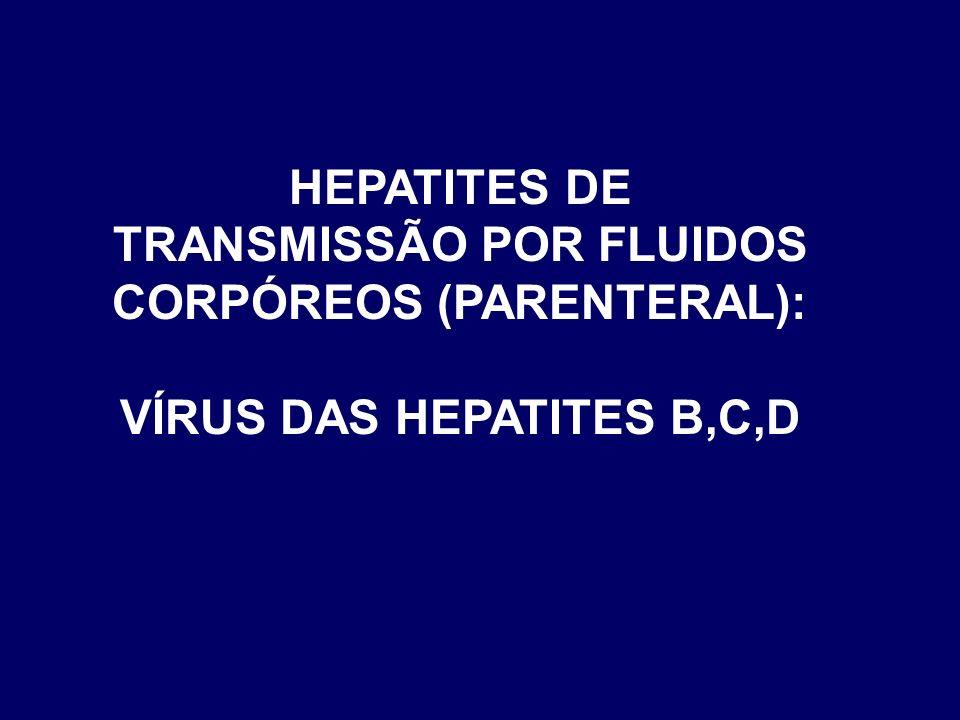 HEPATITES DE TRANSMISSÃO POR FLUIDOS CORPÓREOS (PARENTERAL):