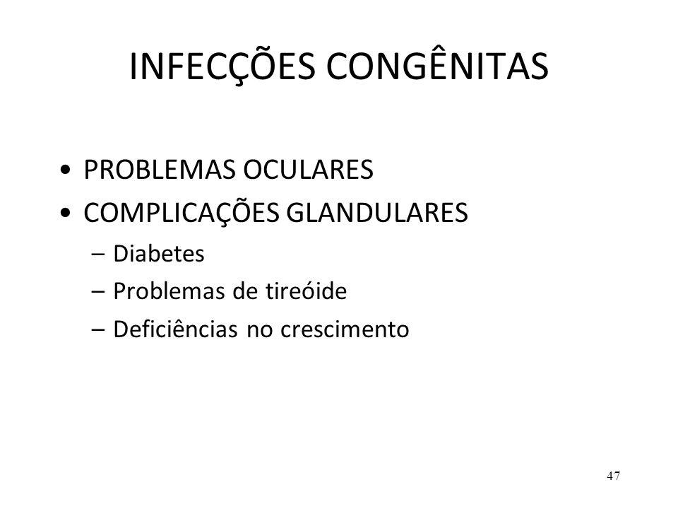 INFECÇÕES CONGÊNITAS PROBLEMAS OCULARES COMPLICAÇÕES GLANDULARES