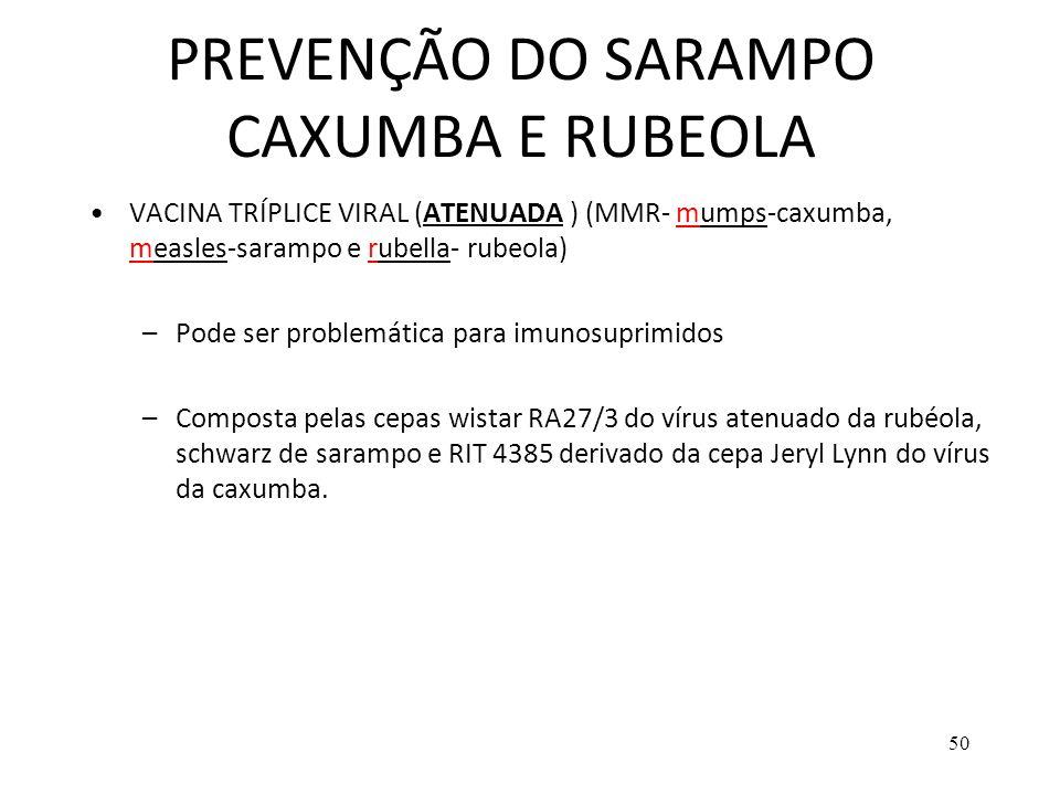PREVENÇÃO DO SARAMPO CAXUMBA E RUBEOLA