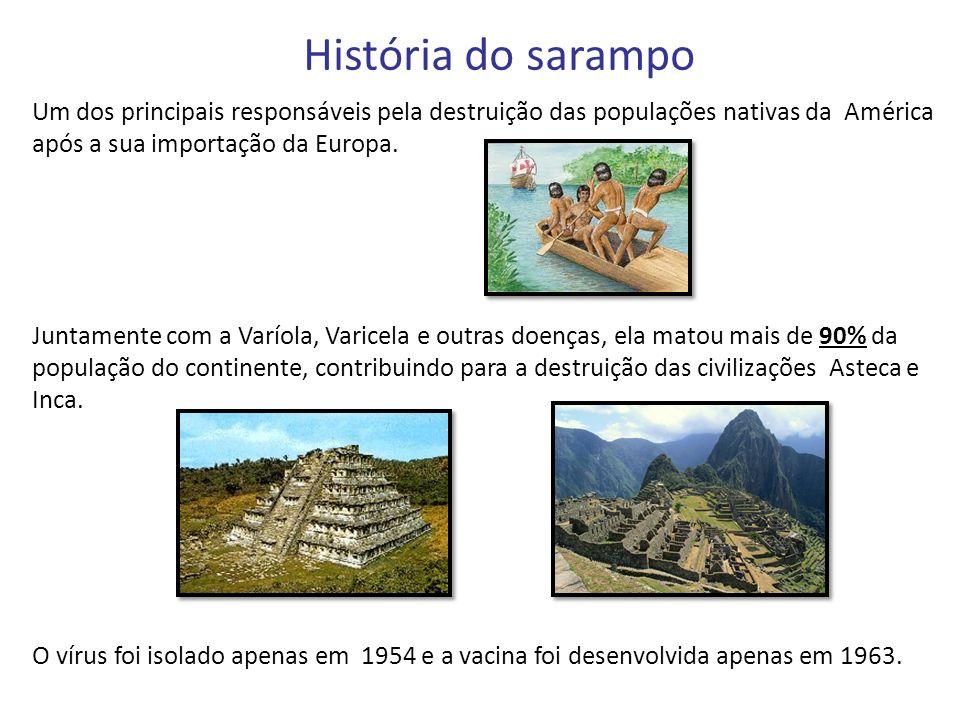 História do sarampo Um dos principais responsáveis pela destruição das populações nativas da América após a sua importação da Europa.