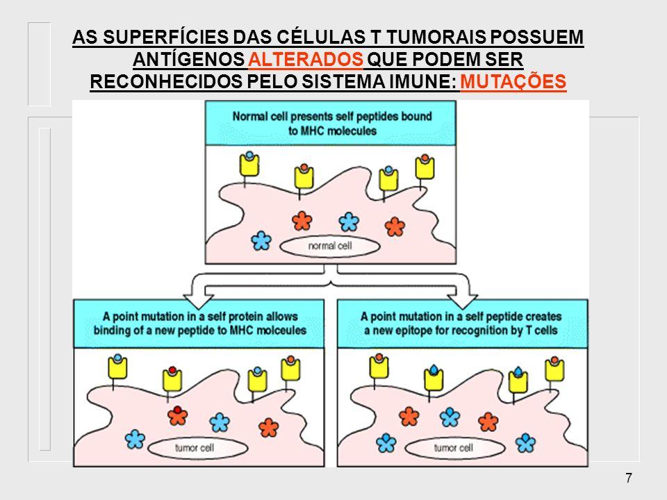 AS SUPERFÍCIES DAS CÉLULAS T TUMORAIS POSSUEM ANTÍGENOS ALTERADOS QUE PODEM SER RECONHECIDOS PELO SISTEMA IMUNE: MUTAÇÕES