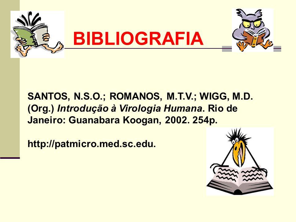 BIBLIOGRAFIA SANTOS, N.S.O.; ROMANOS, M.T.V.; WIGG, M.D. (Org.) Introdução à Virologia Humana. Rio de Janeiro: Guanabara Koogan, 2002. 254p.