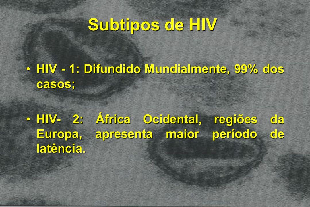 Subtipos de HIV HIV - 1: Difundido Mundialmente, 99% dos casos;