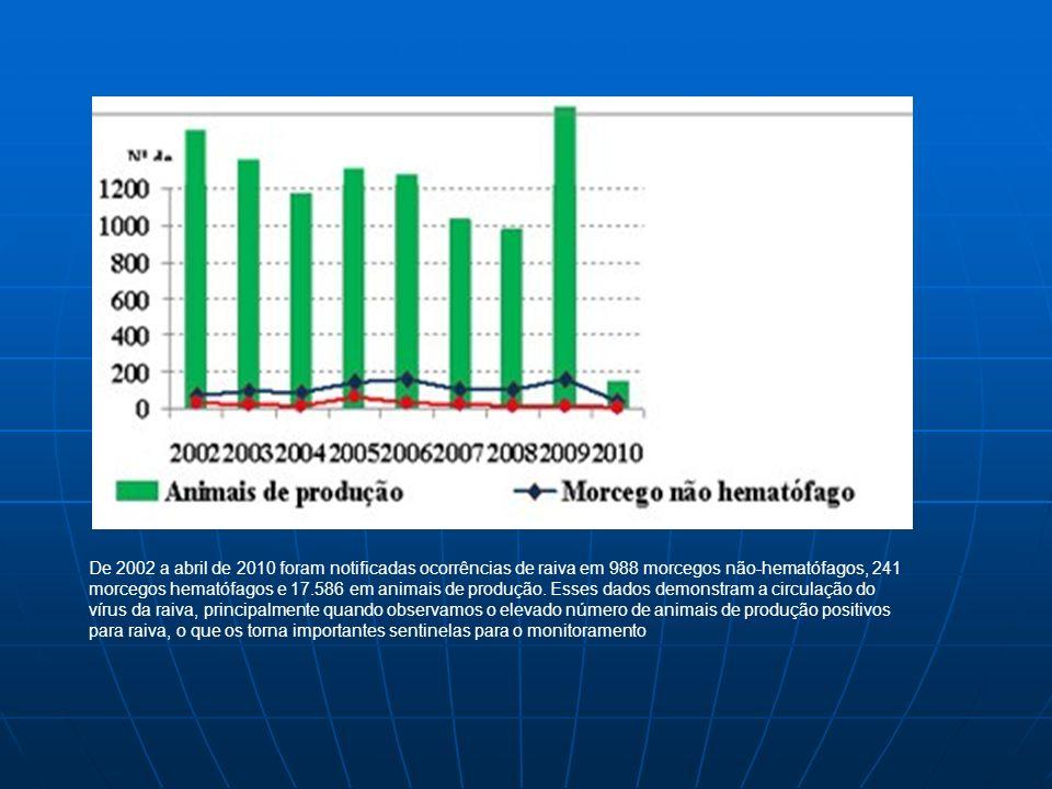 De 2002 a abril de 2010 foram notificadas ocorrências de raiva em 988 morcegos não-hematófagos, 241 morcegos hematófagos e 17.586 em animais de produção.