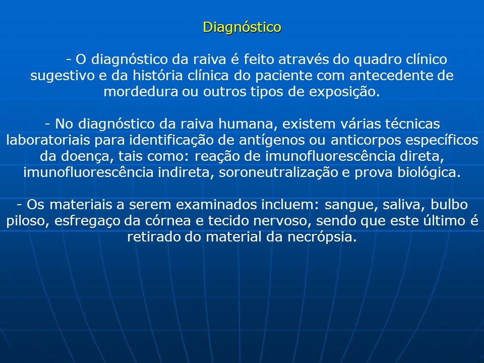 Diagnóstico - O diagnóstico da raiva é feito através do quadro clínico sugestivo e da história clínica do paciente com antecedente de mordedura ou outros tipos de exposição.