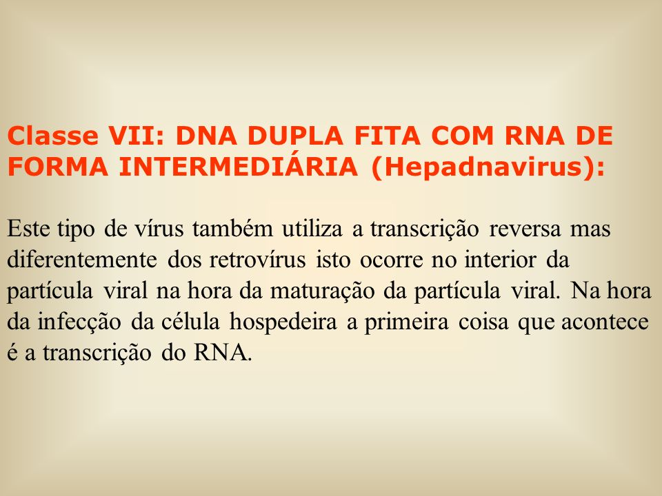 Classe VII: DNA DUPLA FITA COM RNA DE FORMA INTERMEDIÁRIA (Hepadnavirus):