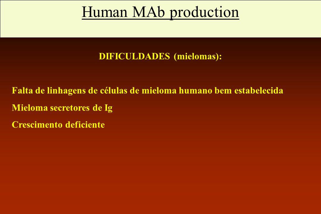 Anticorpos monoclonais humanos DIFICULDADES (mielomas):